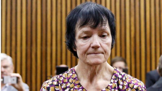 Britta Nielsen saat muncul di pengadilan tahun 2018 di pengadilan di Afrika Selatan.