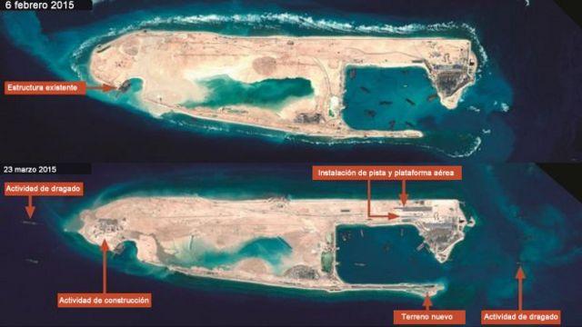 Imágenes de satélite del arrecife Fiery Cross.