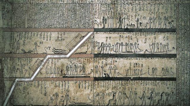 مناظر للرحلة إلى العالم الآخر من مقبرة الملك تحوتمس الثالث، الأسرة الـ 18، في وادي الملوك بمدينة الأقصر