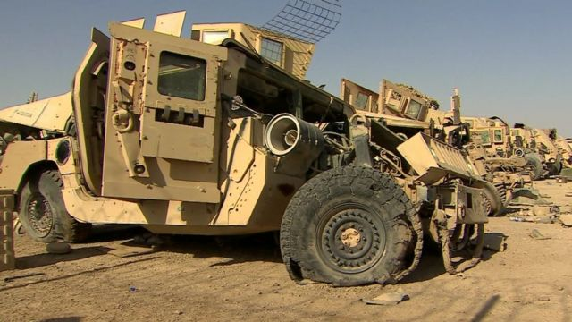Damaged military vehicle in Helmand