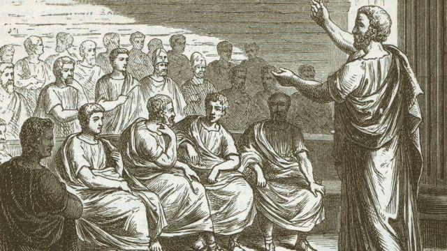 Dibujo de un discurso del gran orador griego Demóstenes.