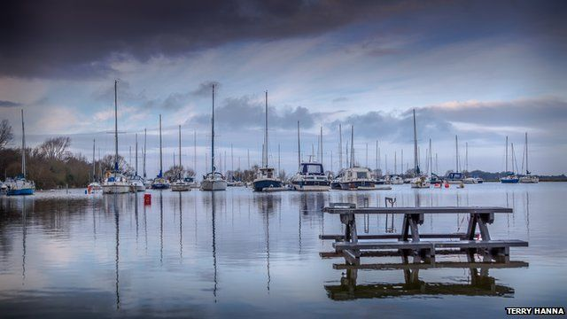 Flood waters from Lough Neagh leave the jetty at Kinnego Marina submerged