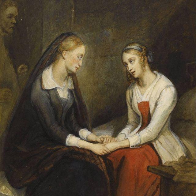"""Las hermanas Effie y Jeanie Deans, de """"El corazón de Mid-Lothian"""", imaginadas por Ary Scheffer (1795-1858)."""