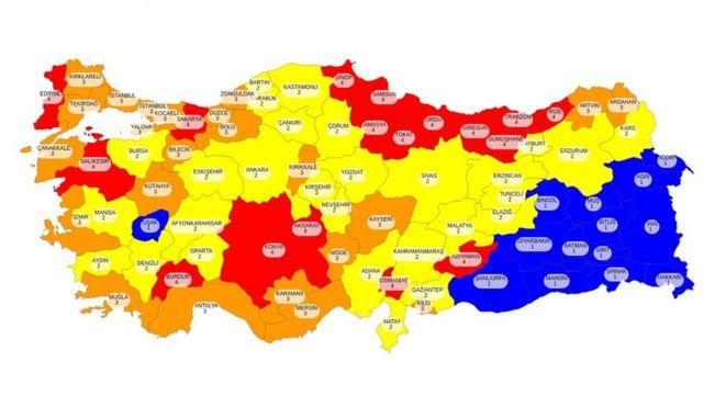 İllerin risk durumlarını gösteren harita