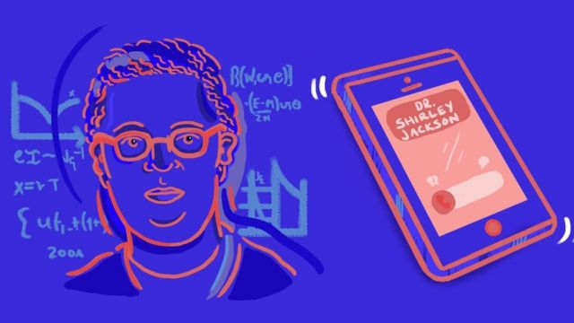 Illustration of Dr Shirley Jackson and a mobile phone