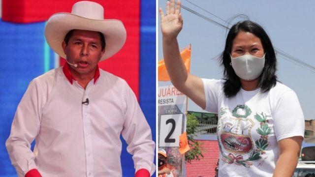 Foto mostra os candidatos Pedro Castillo e Keiko Fujimori