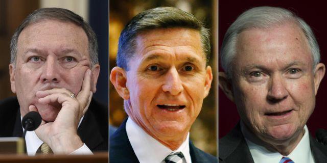 النائب مايك بومبيو، والجنرال مايكل فلين، والسيناتور جيف سيشنز. الثلاثي الأمني في فريق ترامب