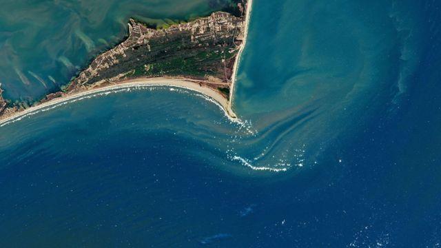 Foto satelital de Cape Point, Carolina del Norte.