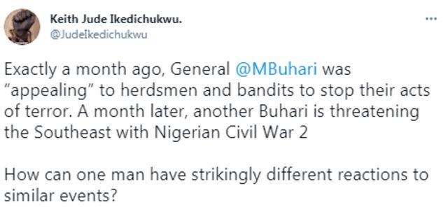 Muhammadu Buhari: Nigerians react to Buhari 'rude shock' threat on rising violence for southeast