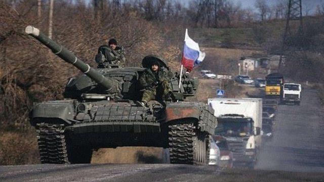Танк з російським прапором