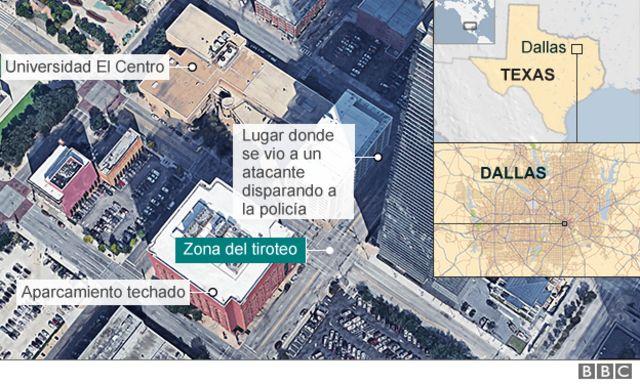 Mapa del lugar donde se produjo el tiroteo