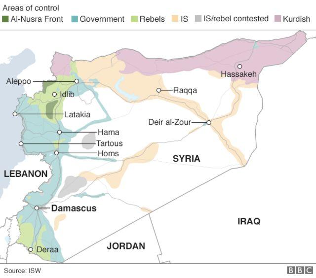 シリア国内の各勢力の掌握地域(黄緑:反政府勢力、青緑:政府軍、濃い緑:ヌスラ戦線、薄茶:IS、灰色:ISと反政府勢力が支配めぐって抗争、ピンク:クルド人武装勢力)