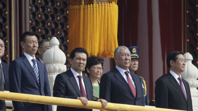 Hong Kong Chief Executive Carrie Lam stands with other Chinese leaders on Tiananmen Gate
