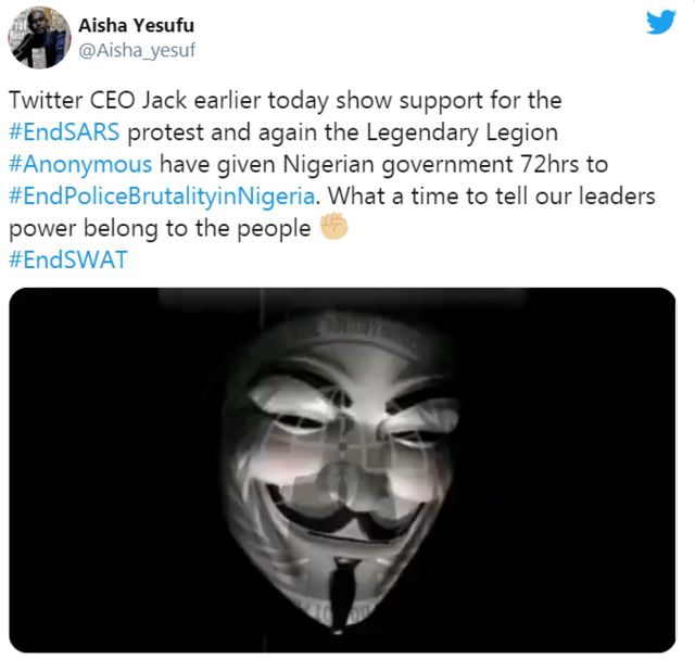 Twitter Hackers #Anonymous wey support #EndSARS