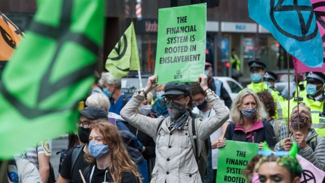 تظاهرة في لندن في سبتمبر/ أيلول 2020