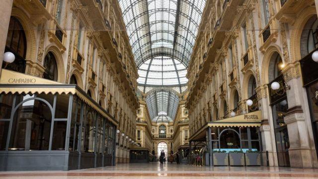 Milan shopping centre vacío.
