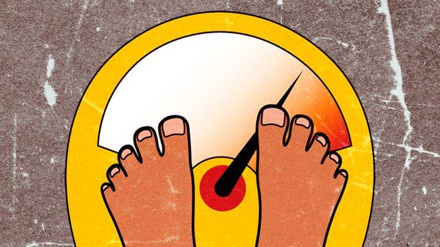 Ilustração mostrando os pés de alguém em cima de uma balança de banheiro