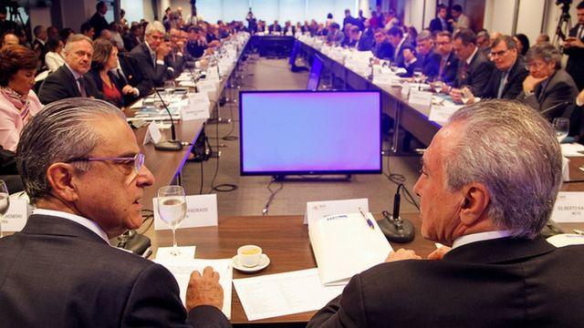 São Paulo - SP, 17/03/2017 - Reunião do Comitê de Líderes da Mobilização Empresarial pela Inovação (MEI). (E/D) Presidente Michel Temer, Presidente da CNI, Robson Braga de Andrade.