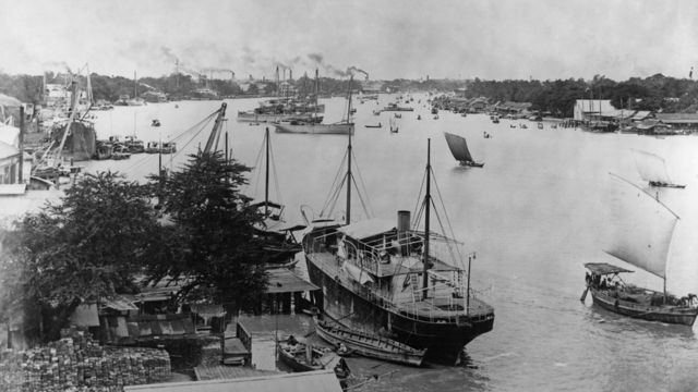 Ships on the Chao Phraya River, Bangkok, Thailand, circa 1910