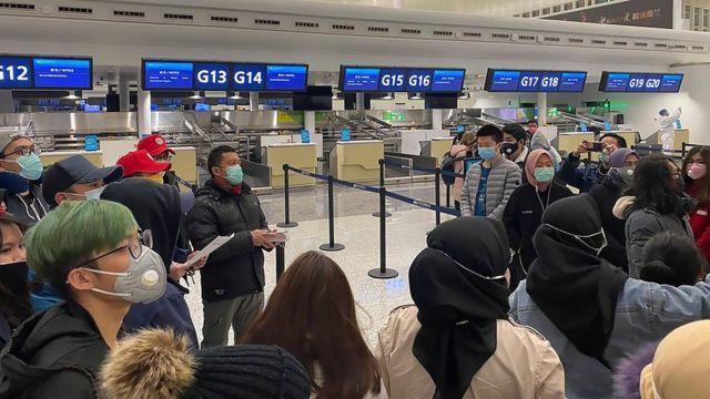 В аэропорту города Ухань идет эвакуация граждан Индонезии