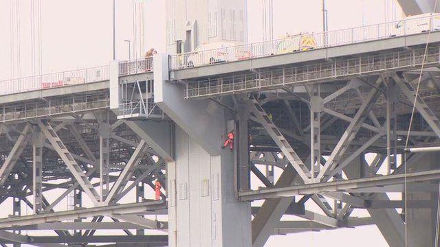 Engineers work on the Forth Road Bridge