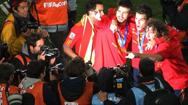 Junto a Xavi, Fábregas y Puyol en Sudáfrica.