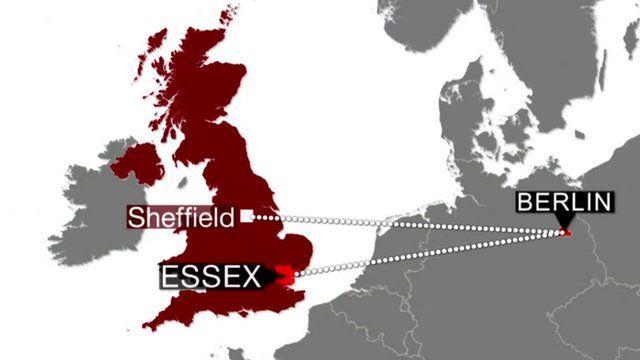 Map showing Jordan's route