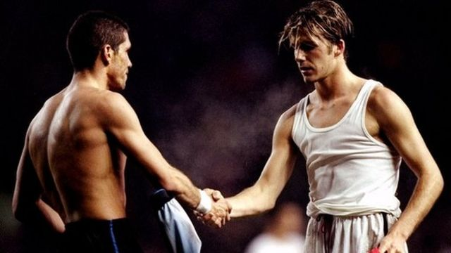 Diego Simeone y David Beckham