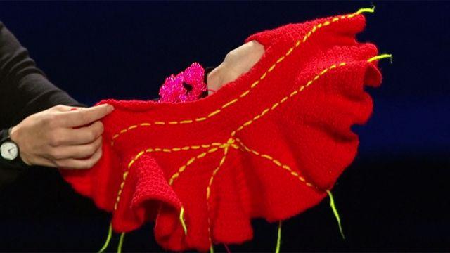 Líneas en tejido de crochet