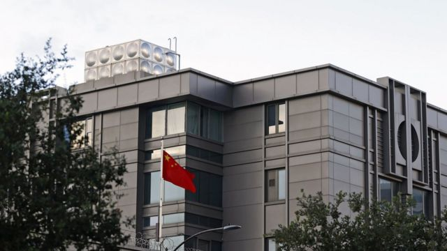 The flag of China flies outside the Chinese Consulate office on Montrose Blvd. in Houston, Texas