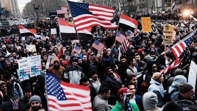 Акция протеста против миграционной политики Дональда Трампа