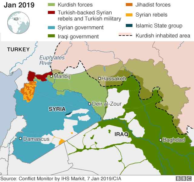 Map showing control of Syria and Kurdish-inhabited areas of Syria, Turkey and Iraq (7 January 2019)
