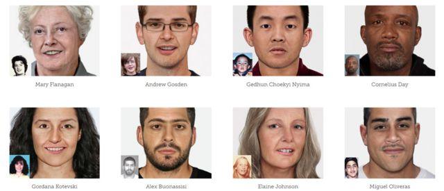 Imagens de pessoas envelhecidas digitalmente