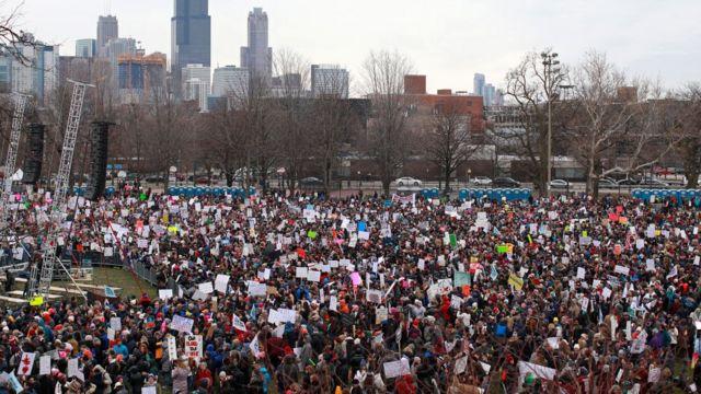 Una protesta en Chicago
