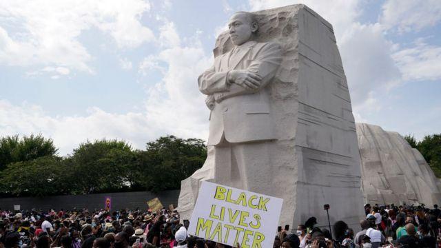 March on Washington demonstrators at the MLK Jr Memorial
