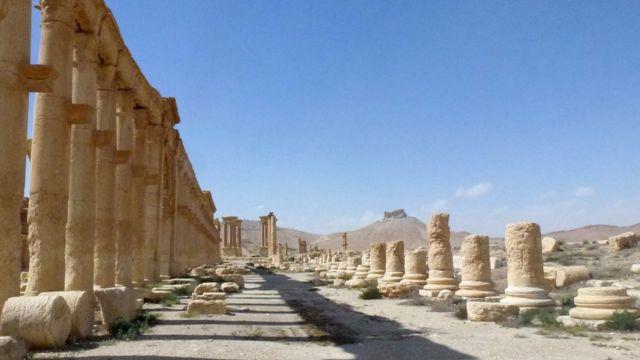 シリア政府軍が奪還した古代都市パルミラ。恐れていたより多くの遺構が残っていたという(27日)
