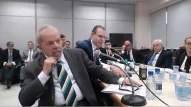 O ex-presidente Lula durante depoimento ao juiz Sergio Moro em maio de 2017