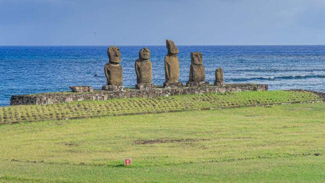 Moais -stone statues of the Rapa Nui- culture on Easter Island