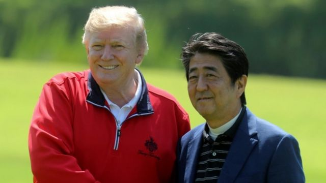 US President Donald Trump meets Japanese PM Shinzo Abe