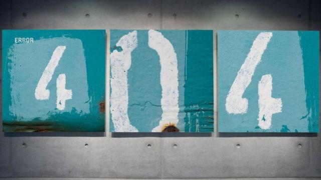 """""""Error 404"""" dibujado en una pared"""