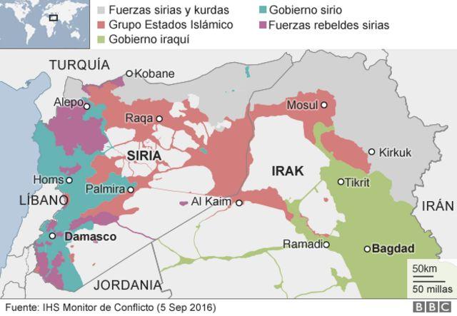 Mapa de ocupación de Siria y alrededores.