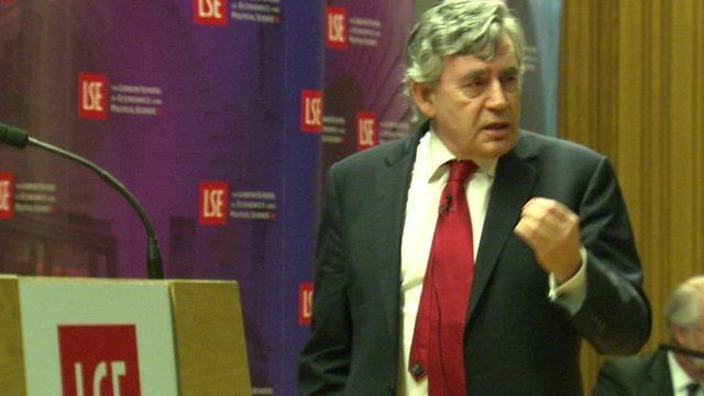 Gordon Brown pacing stage giving passionate speech
