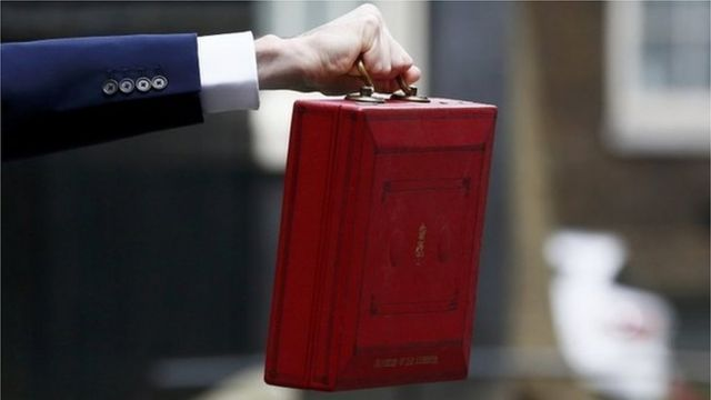 George Osborne holds his budget box aloft