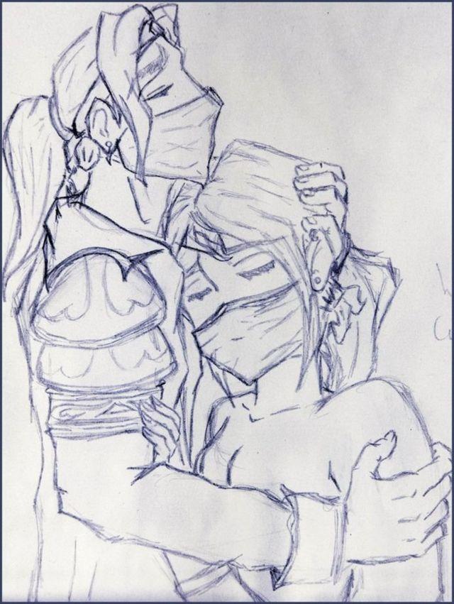 오랜 전 리세트가 그린 '이벨린(왼쪽)과 루머' 그림