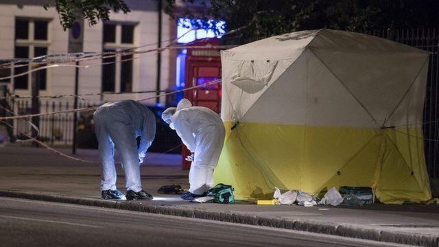 Police gather evidence at scene of attack