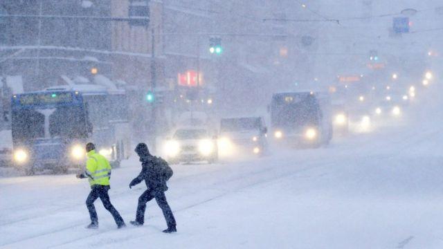 Снегопад в Хельсинки