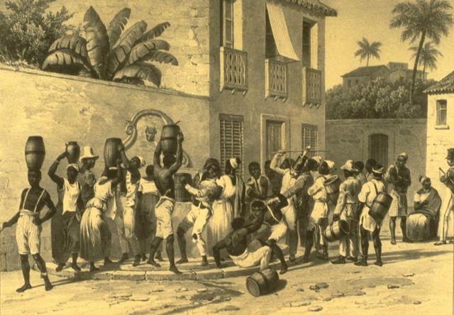 Escravos urbanos coletando água no Brasil da década de 1830