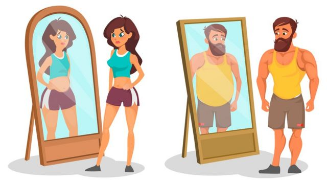 An illustration of a man and a woman looking in a mirror