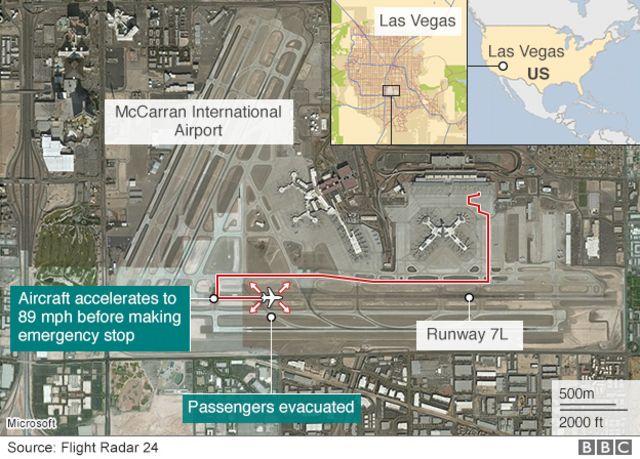 Map: Location of British Airways B777 engine fire at McCarran International Airport, Las Vegas