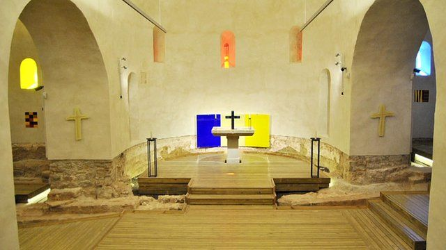 View of the chapel with art and sculptures